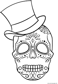 sugar skull with top hat calavera coloring pages printable