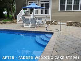 wedding cake pool steps puraqua pool service gunite and vinyl pool renovations waltham