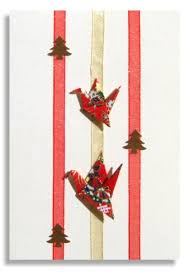 christmas card handmade two origami cranes with japanese washi
