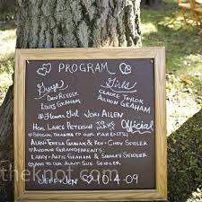chalkboard program wedding non paper programs