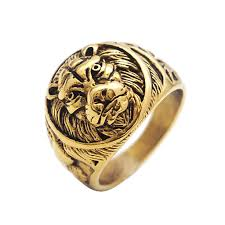 king gold rings images 2018 whole salepunk king lion ring vintage gold color titanium jpg