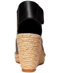 steven by steve madden starryy platform wedge sandals in black lyst