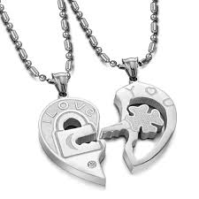 love heart chain necklace images Stainless steel love heart shape couples necklaces pendants set jpg