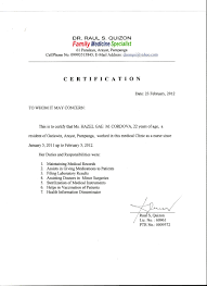 Sle Of Certification Letter Of Employment Certification Of Employment Letter For Caregiver 28 Images Iso