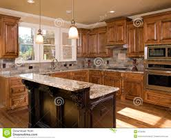 kitchen with two tiered island royalty free stock photos image