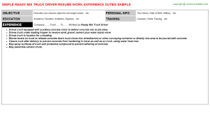 Sample Resume Truck Driver by Ready Mix Truck Driver Resume Sample