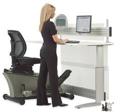 High Computer Desk Workout While You Work With This Elliptical Machine Office Desk