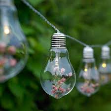 glass bulb and flower string lights by garden selections