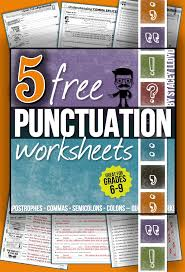 5 free worksheets to practice common punctuation errors with