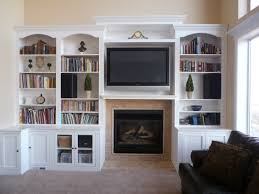 fireplace with hearth center bookcases on sides entertainment