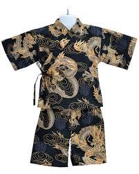 kids kimono jinbei golden dragon japanese pajamas loungewear