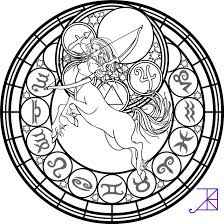 zodiac sagittarius stained glass coloring page by akili amethyst