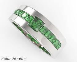 mens princess cut diamonds wedding ring vidar jewelry unique princess cut emerald wedding band for mens vidar jewelry