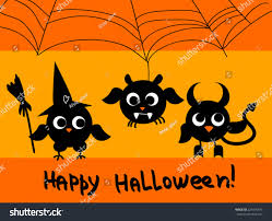 devil halloween background cute halloween card black owls silhouettes stock vector 225065476