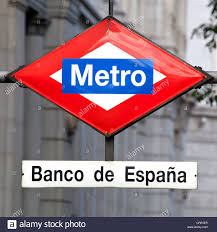 banco central españa sign for the metro station at the central bank of spain banco de