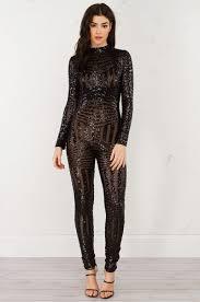 sleeve sequin jumpsuit sleeve sequin jumpsuit in black