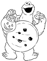 Cookie Monster Halloween Coloring Page Kids Coloring Pages Coloring Cookies