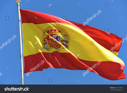 The Spain Flag Spanish National Flag Sky Barcelona City Stock Photo 121132393