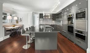 two tones espresso kitchen cabinets with white island combined