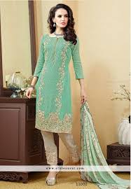 pista green and blue color pant style salwar suit in 2 piece combo