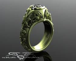 carved engagement rings vintage green gold white sapphire floral carved