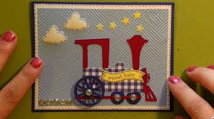 cricut sweet baby boy shower card with train using b is for boy