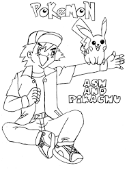 ash and his pokemon coloring pages getcoloringpages com