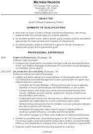 Sample Of Resume Summary by Resume Sample For A Senior Software Engineer Susan Ireland Resumes