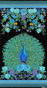 peacock turquoise equilter enchanted plume peacock portrait turquoise 24 x 44