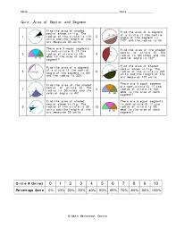 Area Of Sector Worksheet Quiz Area Of Sector And Segment 10th 12th Grade Worksheet
