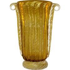 Yellow Glass Vase Pino Signoretto Romantic Italian Ribbed Murano Glass Vase Worked
