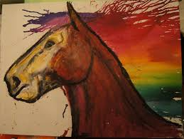 horse melted crayon art could very easily be turned into a