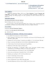 resume electrical o u0026m engineer