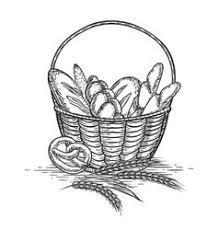 fresh bread basket hand draw sketch royalty free vector