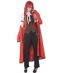 Black Butler Halloween Costumes Amazon Miccostumes Men U0027s Black Butler Grell Sutcliff Cosplay