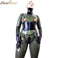 click to buy u003c u003c women transparent black latex catsuit rubber