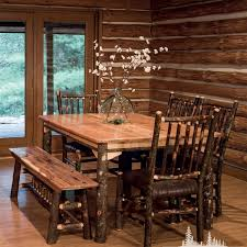 Log Dining Room Table Hickory Extendable Log Dining Table With Leaves