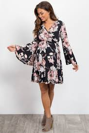 sleeve wrap dress black floral bell sleeve maternity wrap dress