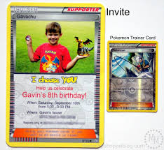 Personalized Invitation Card For Birthday Pokémon Card Birthday Invitation The Scrap Shoppe