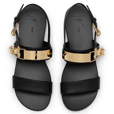 giuseppe zanotti flip black leather sandals with two cross over straps