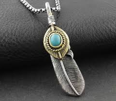 aliexpress vintage necklace images Mens vintage titanium steel feather pendant necklace japanese jpg