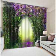 Polyester Flowers - 3d green trees and purple flowers corridor printed thick polyester