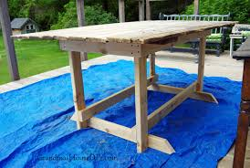 Build A Picnic Table Do It Yourself by Barn Door Table Simple Wood Working Base For Our Deck