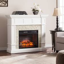 reese white faux stone corner convertible infrared electric