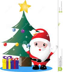 santa and christmas tree clipart clipartxtras