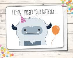 belated birthday card with yeti pun missed birthday greeting