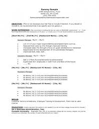 sample resume for restaurant manager position resume template