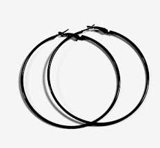 circle earrings black hoop earrings 50mm circle size jewelry