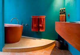 earth tones paint bathroom southwestern with tile flooring