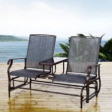 outsunny 2 seater metal textilene rocking seat chair brown grey